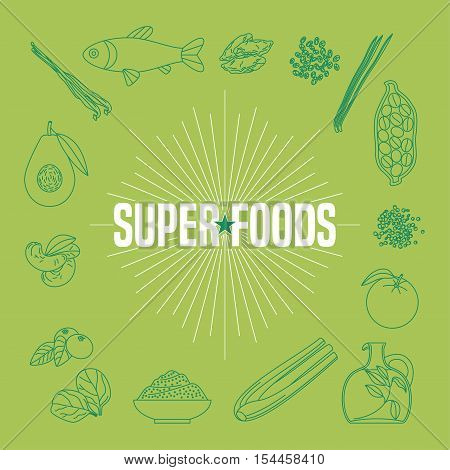 Set of superfoods products, berries, fruits, vegetables in vector. Icons, design elements, print, poster of cocoa beans, goji berry, acai seeds, quinoa for super food wellness