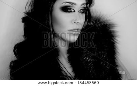 Dark fantasy portrait of magician woman, third eye, witch concept, scary halloween