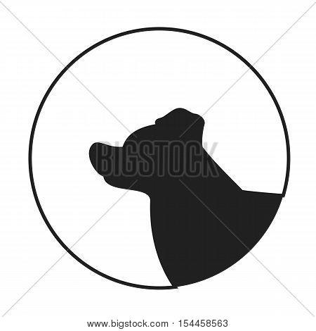 Silhouette of a dog head border collie. Companion pet in monochrome style. Vector illustration