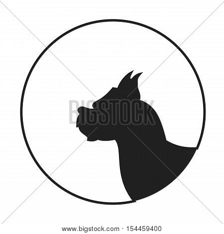 Silhouette of a dog head boxer. Pedigreed puppy pet, vector illustration