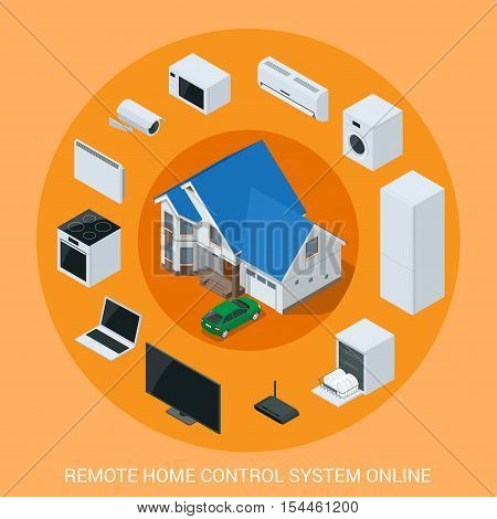 Flat design style modern vector illustration concept of smart home control technology system with centralized control of lighting, heating, ventilation and air conditioning, security and video.