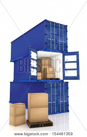 3D rendering : illustration of stacked of three blue container with cardboard boxes inside the container.business export import concept white isolate background