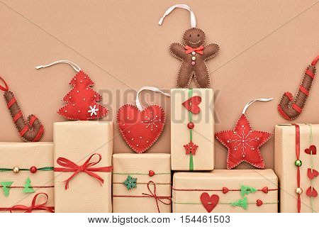 Christmas background decoration. Gift boxes Handmade Stack, Christmas holiday Gingerbread, Fir. New Year 2017. XMAS Design Present Ornament.Festive Art christmas Greeting Card, wrap gifts.Retro Vintage