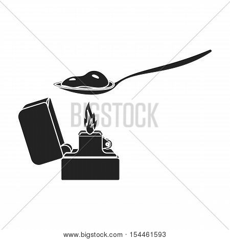 Heroin icon in black style isolated on white background. Drugs symbol vector illustration.