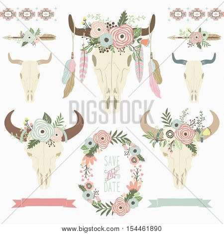 Floral Tribal Bison Skull Collections