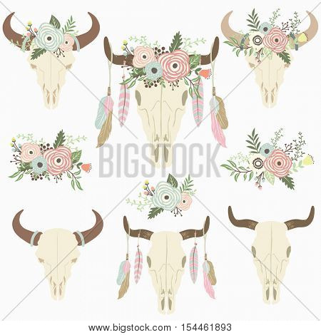 Flower Tribal Bison Skull