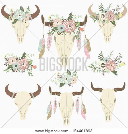Flower Tribal Bison Skull