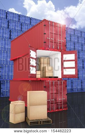 3D rendering : illustration of stacked red container with cardboard boxes inside the container with blue container wall and blue sky in background. business export import concept.