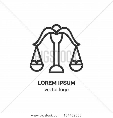 Vector logo design template for libra badge for websites and prints. Modern easy to edit logo template.