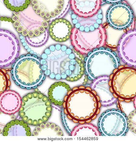 Seamless geometric background pattern made of different ornament circles in ethno style. Bright glow colors. Vector illustration.