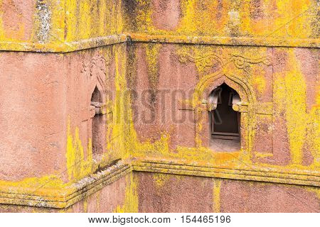 Ethiopia Lalibela detail of the facade of the monolithic underground Sain George Orthodox church