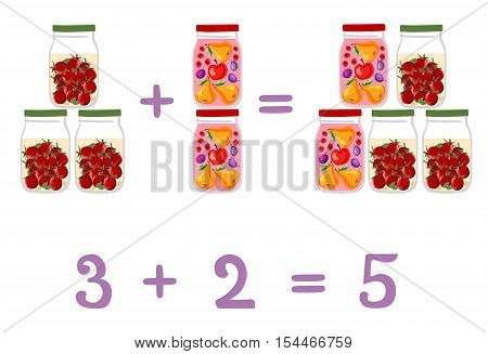 Mathematical examples in addition to fun glass jars. Vector illustration. Educational game for children. The numbers two, three, five. Fruit and berry compote and pickled tomatoes.
