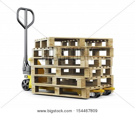 Pallets Isolated On White Background. 3D Rendering