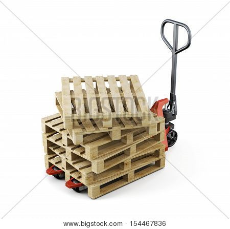 Forklift And A Bunch Of Pallet Isolated. 3D Rendering