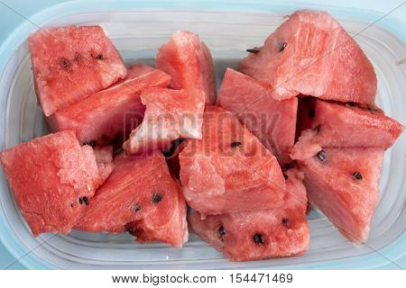 refreshing ripe watermelon on a table cut in cube