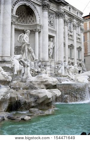 Rome the bernini fountain with Its water jet