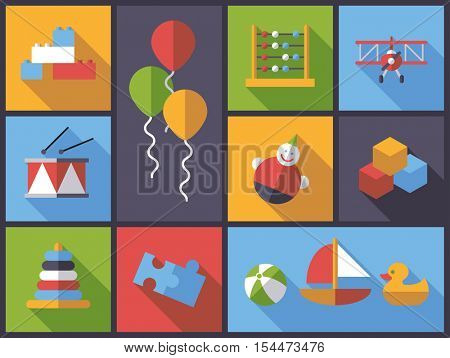Horizontal flat design long shadow illustration with little children's toys