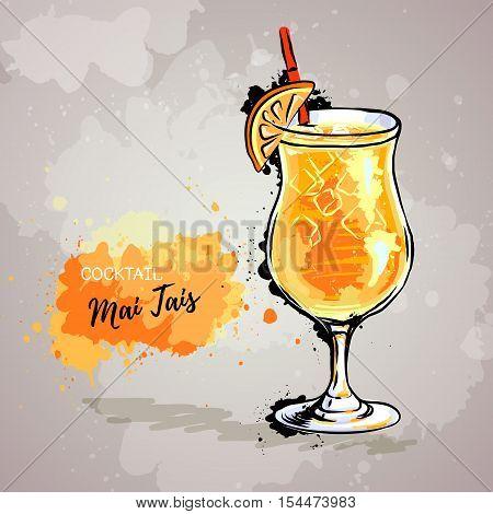 Hand drawn illustration of cocktail mai tais