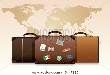 Travel Suitcases with world map