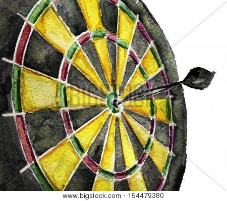 watercolor sketch of dart arrow hitting in the target center of dartboard on white background