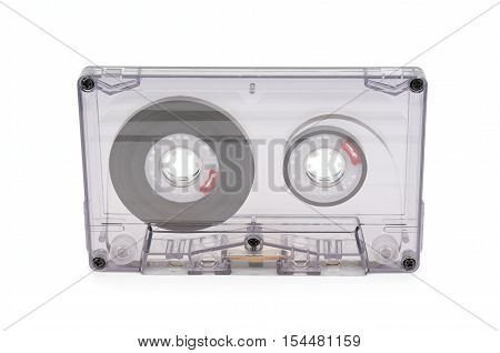 old audio tape isolated on white background
