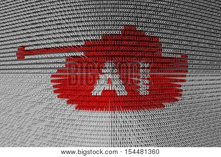 AI tank binary code background 3D illustration