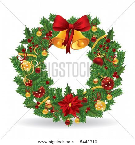 Christmas wreath. Vector
