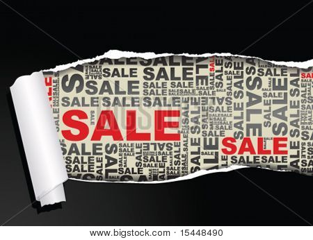Sale discount advertisement - text below ripped paper