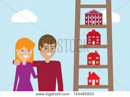 A vector illustration of houses on the rungs of a ladder gradually getting bigger on the way up.