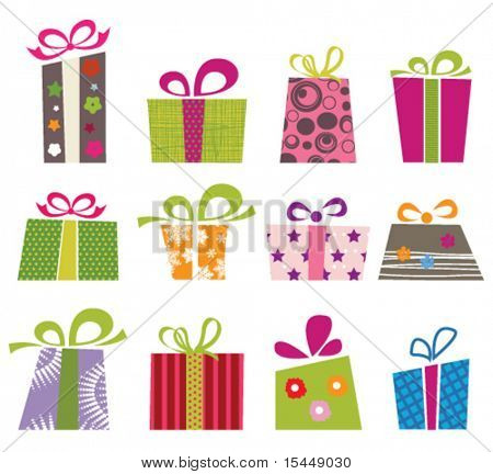 Retro Collection of Gift Boxes.