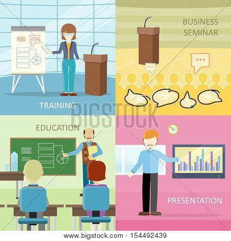 Set of business education concepts in flat design. Lecturers at work. Training, business seminar, education, presentation vector illustrations for educational companies, career courses ad.