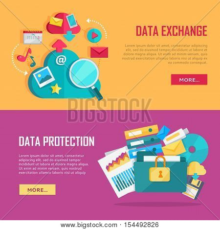 Data exchange and data protection banners set. Data protection and exchange design flat concept. Technology web, internet information data integration and transforming. Data provision. Vector