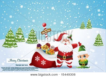 christmas greeting with Santa Claus and elf