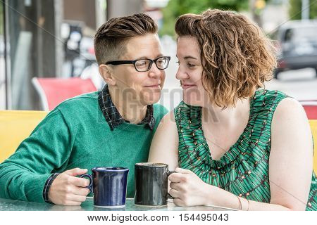 Joyful Couple Looking At Each Other