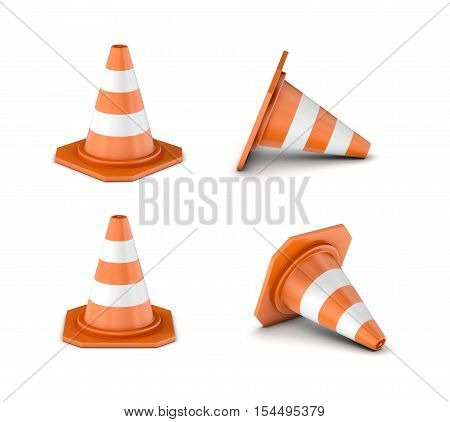 3d rendering striped orange-and-white traffic cone isolated on the white background. Traffic signs. Safety gear and equipment. Construction site.