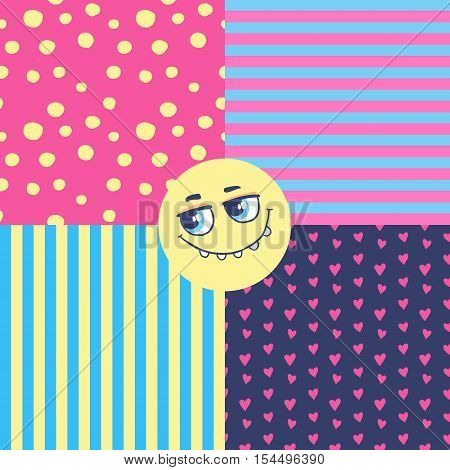 Set of seamless vector patterns wiyh funny monster.