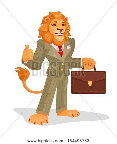 Vector illustration of business king, a successful businessman, winner, the human ego.