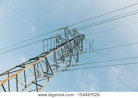 Electrical tower current mast against blue clear sky - advertising image for environmentally friendly energy producers