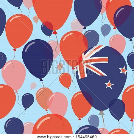 New Zealand National Day Flat Seamless Pattern. Flying Celebration Balloons In Colors Of New Zealand
