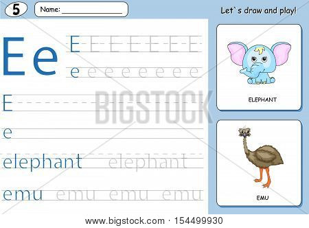 Cartoon Elephant And Emu. Alphabet Tracing Worksheet: Writing A-z And Educational Game For Kids