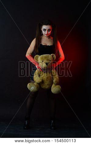 Girl Harlequin Halloween