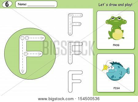 Cartoon Frog And Fish. Alphabet Tracing Worksheet: Writing A-z And Educational Game For Kids