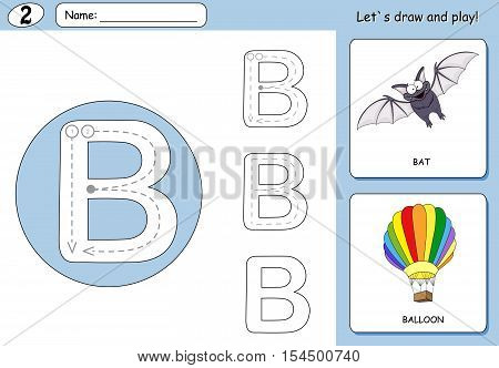 Cartoon Bat And Balloon. Alphabet Tracing Worksheet: Writing A-z And Educational Game For Kids