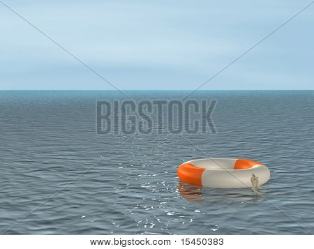 The 3d lifebuoy ring, floating on waves