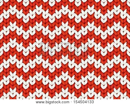 Red and white knit zig-zag Christmas knitted vector seamless pattern tile
