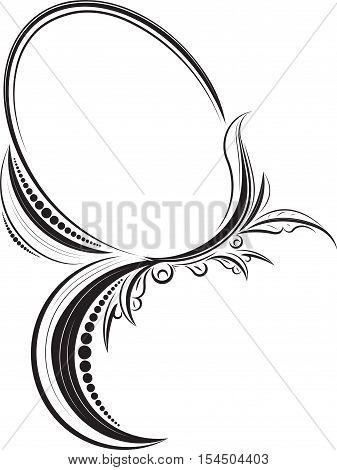 Decorative vintage flourish oval black vector frame.