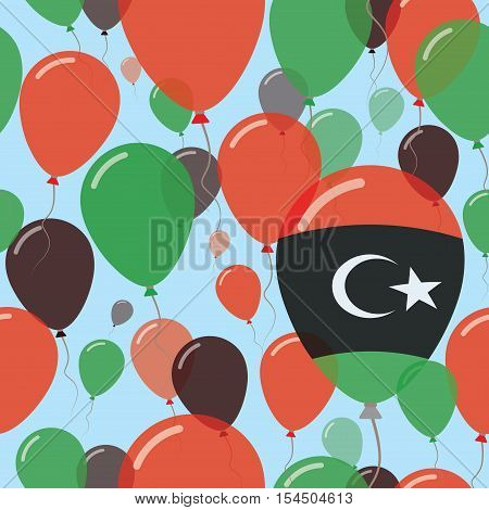 Libya National Day Flat Seamless Pattern. Flying Celebration Balloons In Colors Of Libyan Flag. Happ