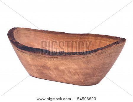 Olive wood wavy rim small bowl isolated on white background
