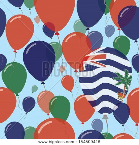 British Indian Ocean Territory National Day Flat Seamless Pattern. Flying Celebration Balloons In Co