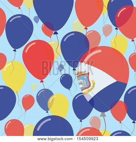 Sint Maarten National Day Flat Seamless Pattern. Flying Celebration Balloons In Colors Of Dutch Flag
